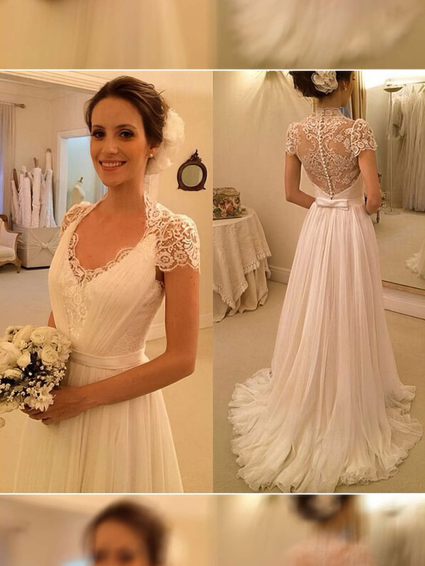 2016 V-neck Ivory Chiffon with Appliques Lace Short Sleeve Wedding Dress #PDS00021497