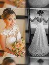 White Lace Tulle Scoop Neck Appliques Lace Court Train Gorgeous Wedding Dress #PDS00021498