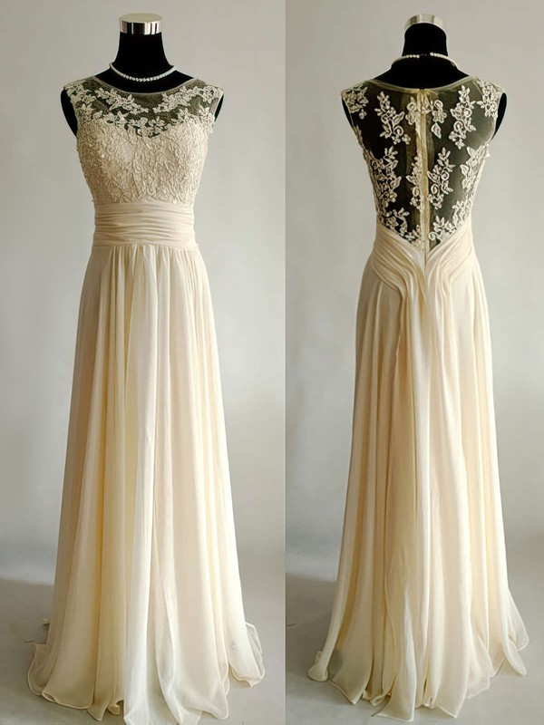 A-line Scoop Neck Appliques Lace Champagne Chiffon Tulle Wedding Dress