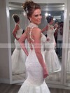 White Lace Tulle Trumpet/Mermaid Appliques Lace High Neck Wedding Dresses #PDS00021502