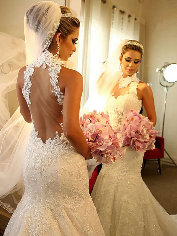 Prettiest Chapel Train Sequins High Neck Ivory Lace Tulle Wedding Dress