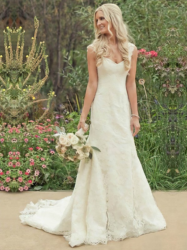 Original Sweetheart Ivory Lace with Buttons Sheath/Column Wedding Dress #PDS00021504