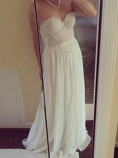 Ivory Chiffon Sweetheart Open Back Appliques Lace A-line Wedding Dresses #PDS00021507