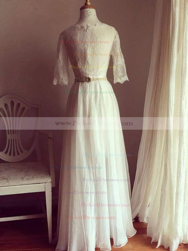 Great Scoop Neck Ivory Chiffon Lace 1/2 Sleeve A-line Wedding Dresses #PDS00021511