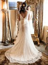 Amazing V-neck Court Train Backless Sashes/Ribbons Ivory Lace Wedding Dress #PDS00021513