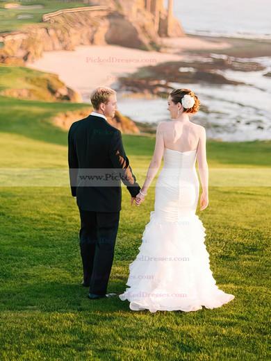 Sweetheart White Organza Tiered Trumpet/Mermaid Fashion Wedding Dress #PDS00021515