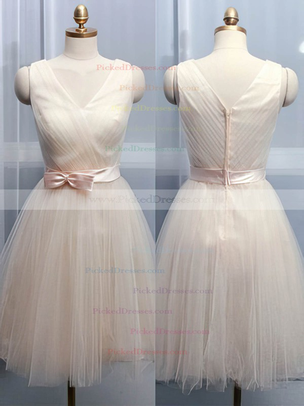 Promotion V-neck Knee-length Bow Champagne Tulle Bridesmaid Dresses #PDS01012105