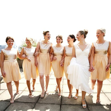 Knee-length Chiffon Sequined Scoop Neck Sashes/Ribbons Champagne Bridesmaid Dress #PDS01012134