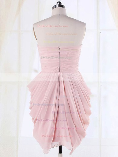 Cute Sweetheart Pleats Short/Mini Pink Chiffon Bridesmaid Dresses #PDS01012135
