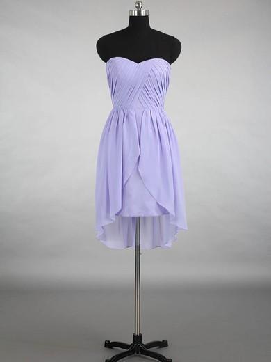 Good Asymmetrical Sweetheart Ruffles Lavender Chiffon Bridesmaid Dress #PDS01012145