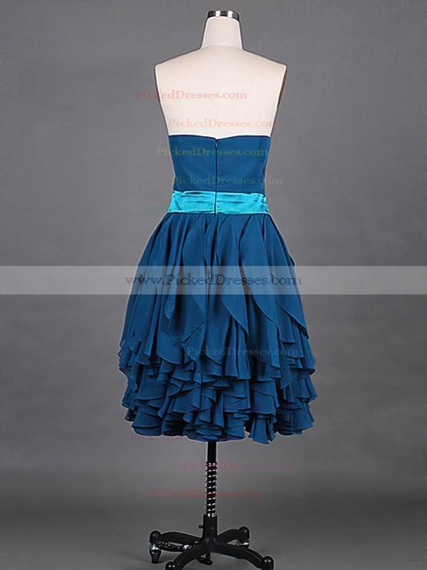 Chiffon A-line Sweetheart Knee-length Tiered Bridesmaid Dresses #PDS01012148