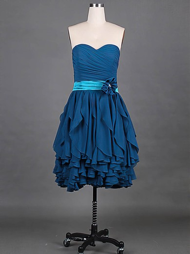 Chiffon A-line Sweetheart Knee-length Tiered Bridesmaid Dresses #PDS01012148