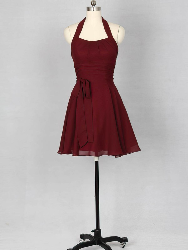 Halter Burgundy Chiffon Sashes/Ribbons Open Back Short/Mini Bridesmaid Dress #PDS01012151