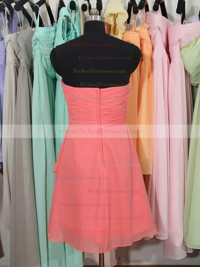 Hot Sweetheart Watermelon Chiffon Ruffles Knee-length Bridesmaid Dress #PDS01012179