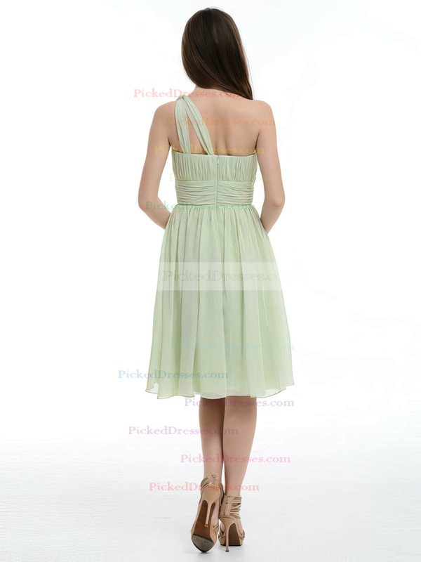 Ruffles and Pleats Sage Chiffon Knee-length One Shoulder Bridesmaid Dresses #PDS01012181