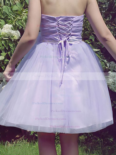 Best Ball Gown Sashes/Ribbons Strapless Lace-up Lilac Tulle Bridesmaid Dresses #PDS01012185