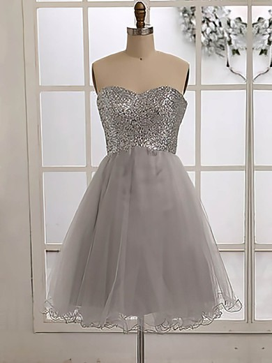 Sparkly Sweetheart Tulle Sequined Knee-length Bridesmaid Dress #PDS01012186
