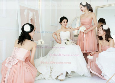 Nice Sweetheart with Sashes/Ribbons Ball Gown Pearl Pink Tulle Bridesmaid Dresses #PDS01012204