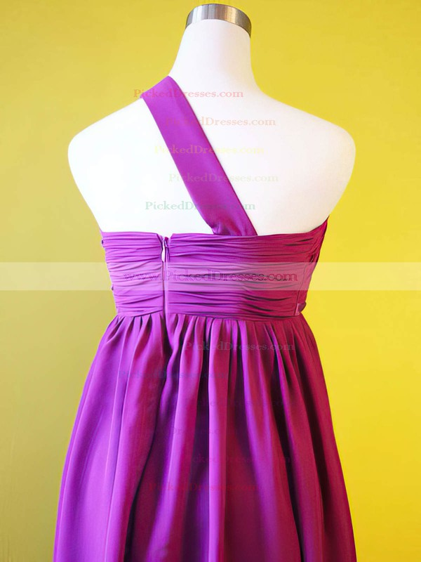 Chiffon Empire One Shoulder Knee-length Draped Bridesmaid Dresses #PDS01012213