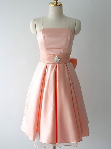 Pink Satin with Bow Knee-length Strapless Online Bridesmaid Dresses #PDS01012217
