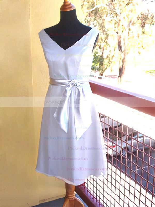 Chiffon Sheath/Column V-neck Knee-length Sashes / Ribbons Bridesmaid Dresses #PDS01012193