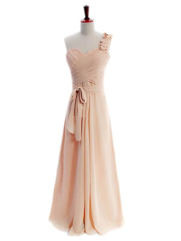 Cheap Chiffon Sashes/Ribbons One Shoulder A-line Bridesmaid Dresses #PDS01012597