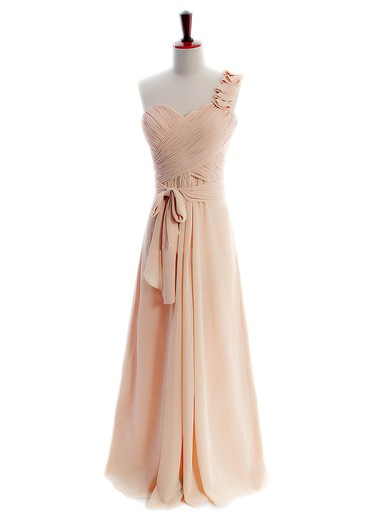 Cheap Chiffon Sashes/Ribbons One Shoulder A-line Bridesmaid Dresses #PDS01012597