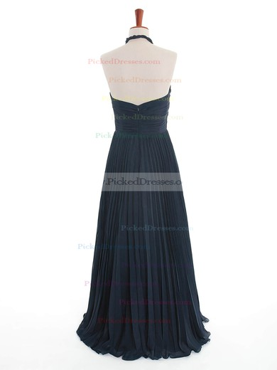 Promotion Dark Navy A-line Halter with Criss Cross Chiffon Bridesmaid Dress #PDS01012600