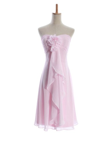 Chiffon Sheath/Column Sweetheart Knee-length Flower(s) Bridesmaid Dresses #PDS01012601