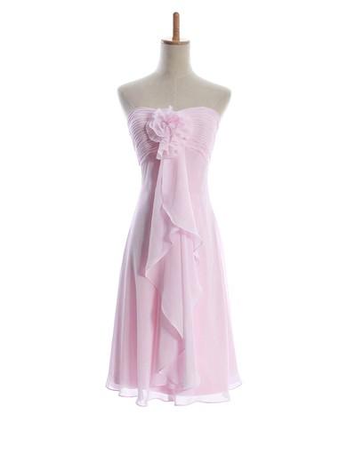 Chiffon Sheath/Column Sweetheart Knee-length Flower(s) Bridesmaid Dresses #PDS01012601