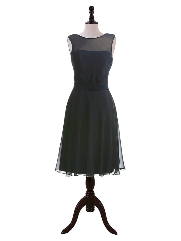 Dark Navy Chiffon Sashes/Ribbons Scoop Neck Tea-length Bridesmaid Dresses #PDS01012604