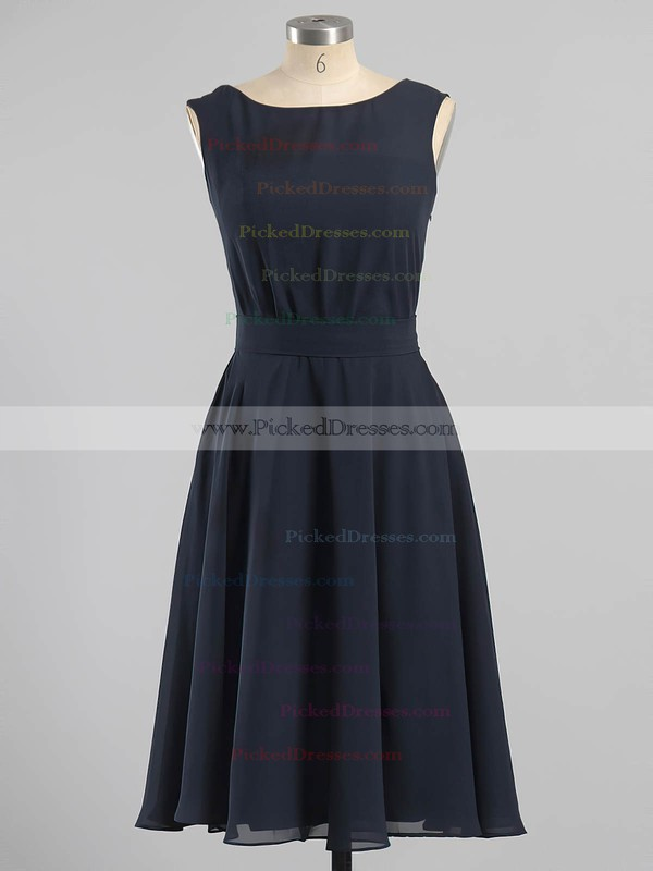 Dark Navy Chiffon Sashes/Ribbons Scoop Neck Tea-length Bridesmaid Dresses #PDS01012604