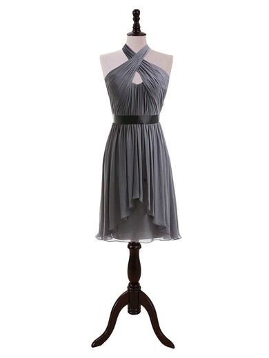 A-line Knee-length Chiffon Sashes/Ribbons Halter Bridesmaid Dresses #PDS01012608