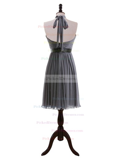 A-line Knee-length Chiffon Sashes/Ribbons Halter Bridesmaid Dresses #PDS01012608