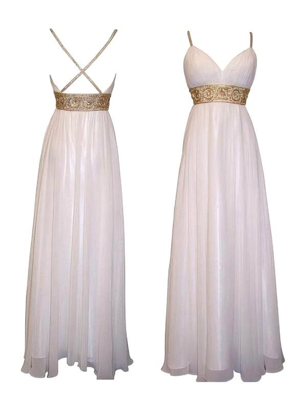 Ivory Chiffon V-neck Beading Spaghetti Straps Empire Bridesmaid Dresses #PDS01012615