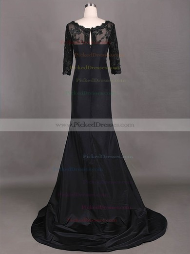 Inexpensive Sweep Train Taffeta Lace 1/2 Sleeve Scoop Neck Black Mother of the Bride Dress #PDS01021315