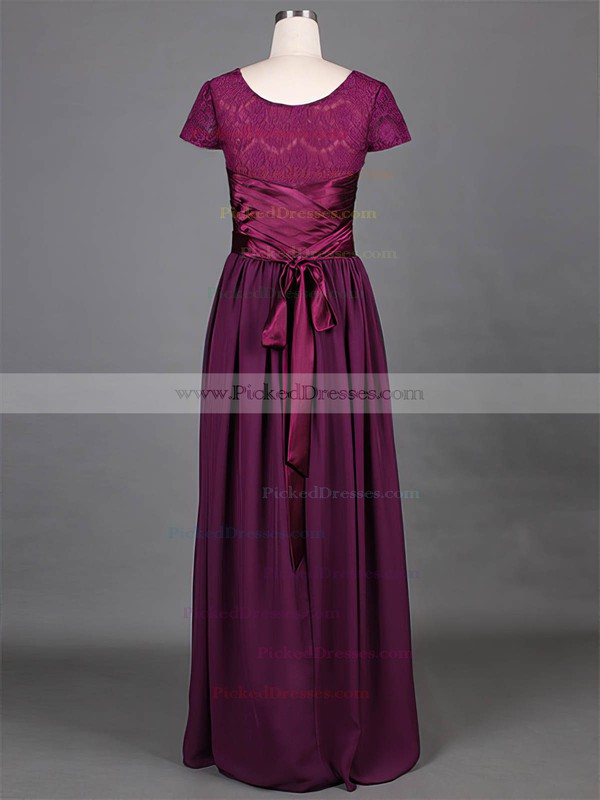Short Sleeve Floor-length Grape Lace Chiffon Sashes / Ribbons Scoop Neck Mother of the Bride Dress #PDS01021316