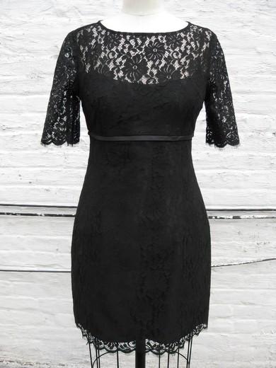 Sheath/Column Elegant Short Sleeve Black Lace Scoop Neck Mother of the Bride Dress #PDS01021318