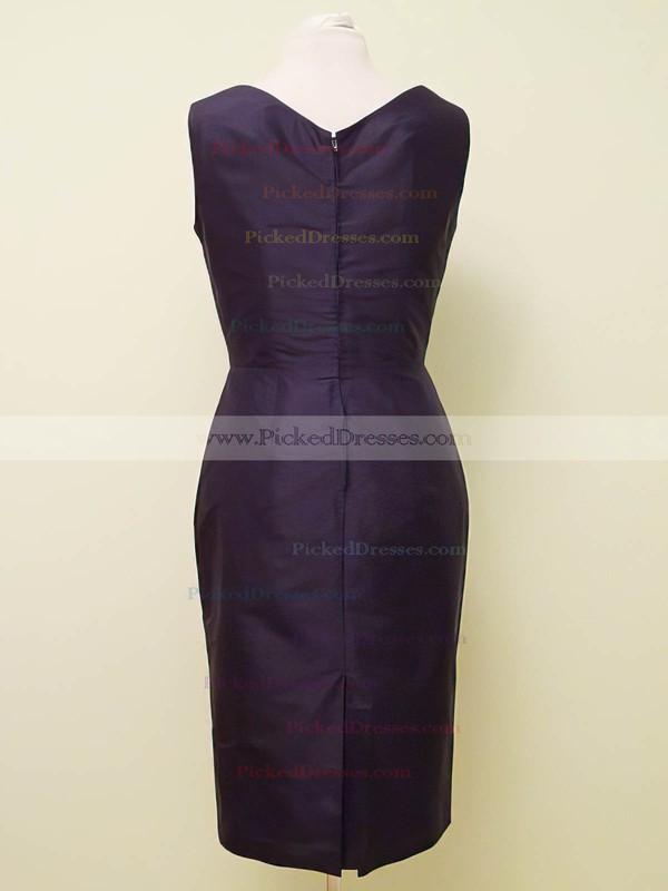 Sheath/Column Knee-length Grape Satin Beading V-neck New Mother of the Bride Dress #PDS01021323