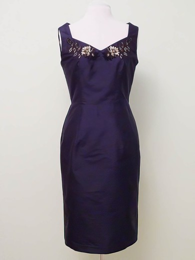 Sheath/Column Knee-length Grape Satin Beading V-neck New Mother of the Bride Dress #PDS01021323