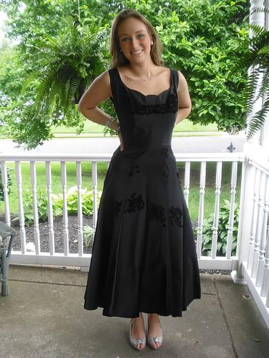 New A-line Tea-length Flower(s) Black Satin Mother of the Bride Dress #PDS01021324