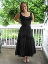 New A-line Tea-length Flower(s) Black Satin Mother of the Bride Dress #PDS01021324