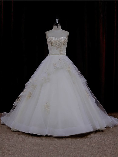 Ivory Chapel Train Tulle Appliques Lace Cheap Sweetheart Wedding Dresses #PDS00021632