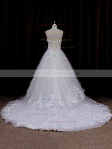 Sweetheart Lace-up Tulle Appliques Lace Chapel Train Ivory Wedding Dresses #PDS00021633