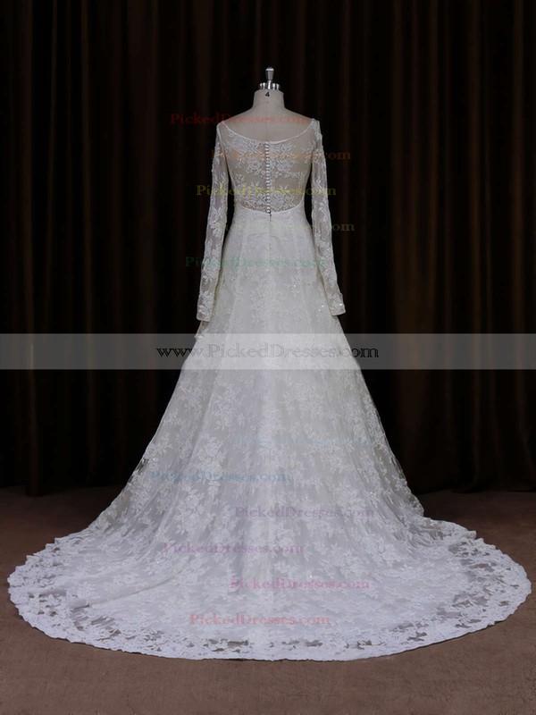 Unique Long Sleeve Ivory Lace Beading Scoop Neck Wedding Dresses #PDS00021634