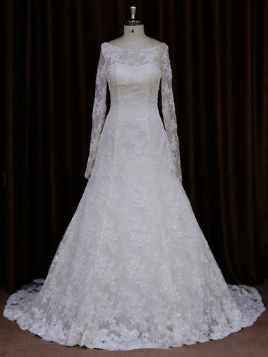 Unique Long Sleeve Ivory Lace Beading Scoop Neck Wedding Dresses #PDS00021634
