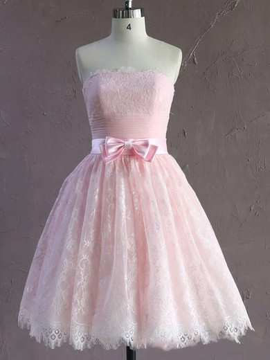 Short/Mini Pink Modest Lace Sashes / Ribbons Strapless Wedding Dresses #PDS00021635