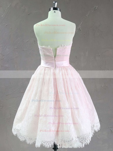 Short/Mini Pink Modest Lace Sashes / Ribbons Strapless Wedding Dresses #PDS00021635