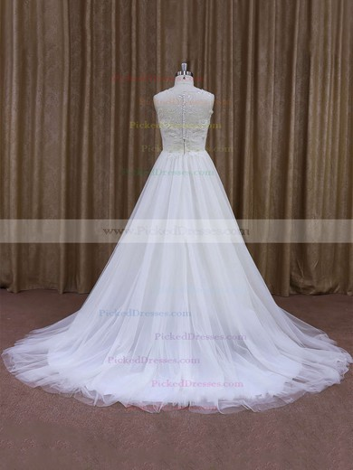 Vintage Court Train White Lace Tulle with Sequins Scoop Neck Wedding Dresses #PDS00021637