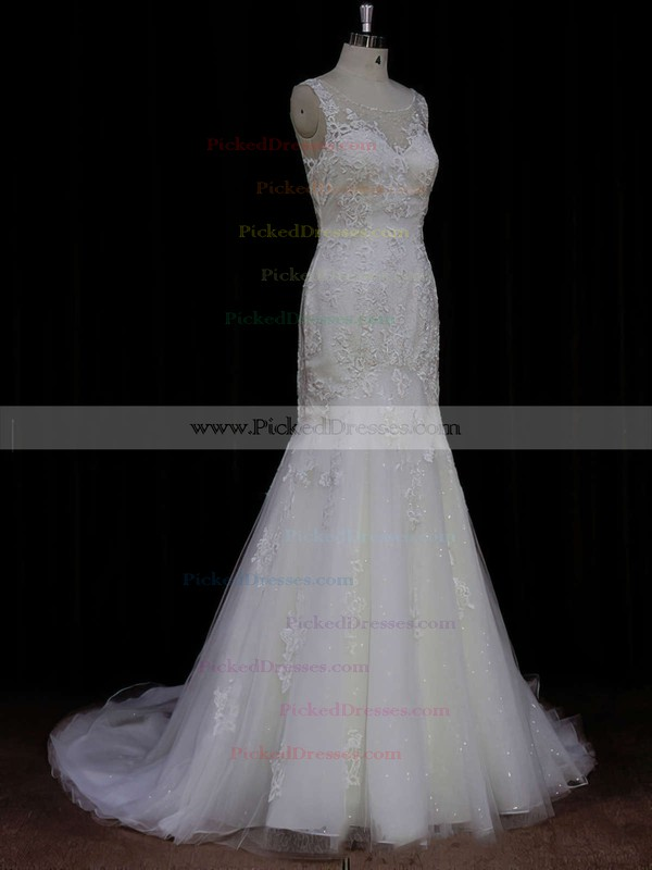 Trumpet/Mermaid Discount Ivory Tulle Appliques Lace Scoop Neck Wedding Dresses #PDS00021638